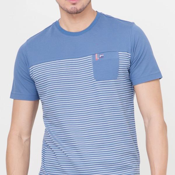 條紋口袋圓領衫(男)-共2色