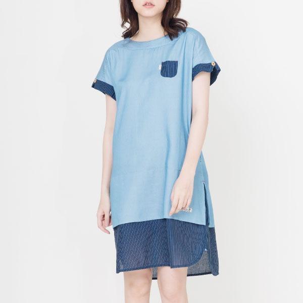 絲滑天絲棉拼接洋裝(共2色) 洋裝,有機棉,服裝,女裝,fantino