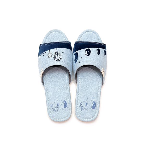 有機棉植絨家居拖鞋/室內拖鞋-麻花藍(刺蝟一家) 室內拖,台灣設計,台灣製造,拖鞋,布花,居家良品,防滑,刺蝟