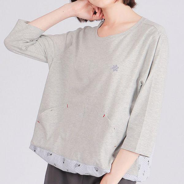 有機棉拼接七分袖圓領衫(女)-麻花灰