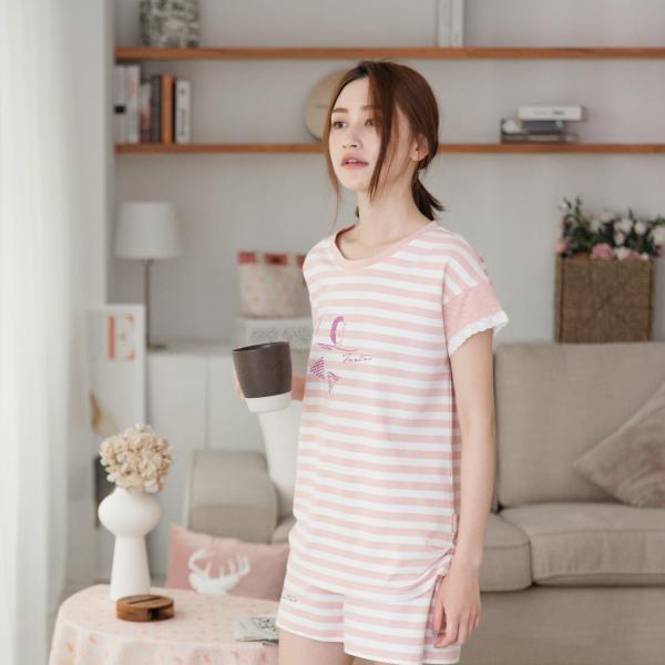 花邊小落肩條紋家居服-UMORFIL膠原蛋白紗-共4色 睡衣,家居服,居家服,舒服的睡衣,美膚睡衣,膠原蛋白睡衣,fantino睡衣
