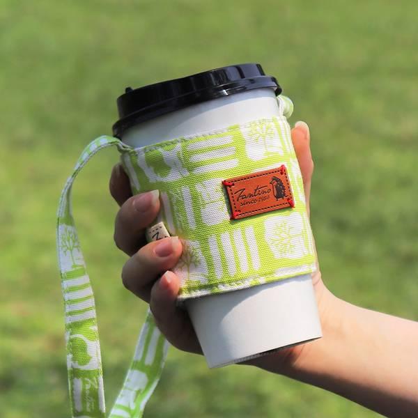 雙層隔熱環保飲料杯套/飲料提袋(解密古王國)-嫩芽綠 飲料杯套,環保杯套,手提杯套,杯套,環保飲料提袋,飲料袋,飲料提袋,婚禮小物,禮物,外帶,環保,防水布,杯套,飲料,提袋,杯套提袋,環保杯袋,環保杯,飲料杯