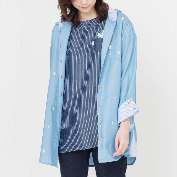 天絲刺繡長版連帽外套(共2色) 天絲棉,外套,服裝,女裝,fantino