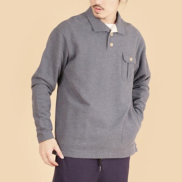 膠原蛋白厚紡刷毛側邊口袋長袖POLO衫(男)-麻花藍