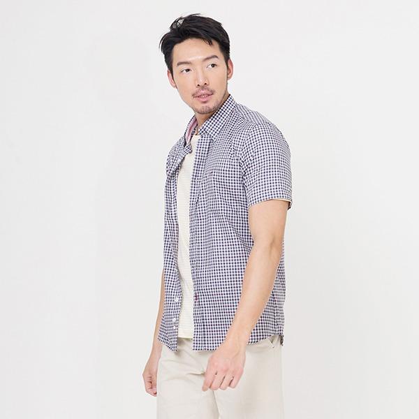 奧地利純棉格紋襯衫(沈穩紫)