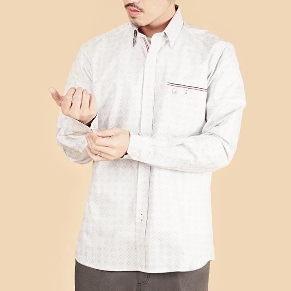 埃及棉袖口拼接舒適商務襯衫(男)-淺灰