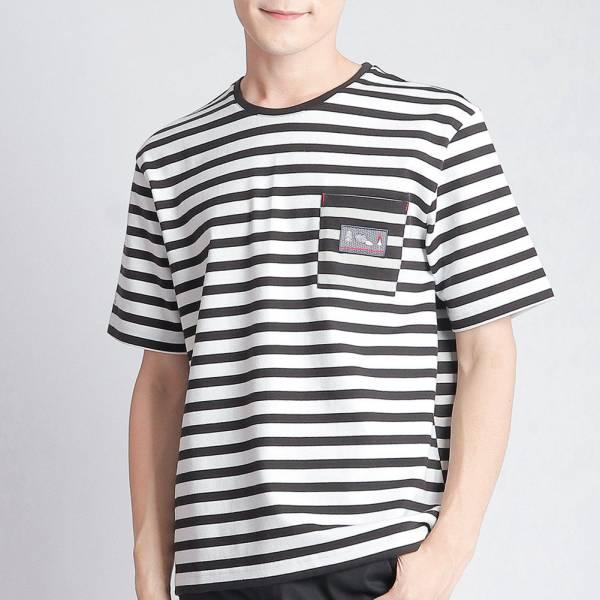 口袋圓領衫(男)-黑條紋