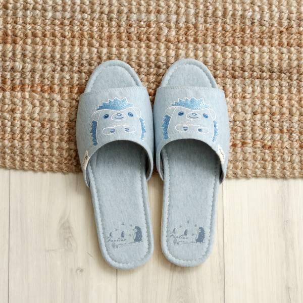 有機棉刺繡家居拖鞋/室內拖鞋-亮片藍(亮片刺蝟) 室內拖,台灣設計,台灣製造,拖鞋,布花,居家良品,防滑,刺蝟,亮片