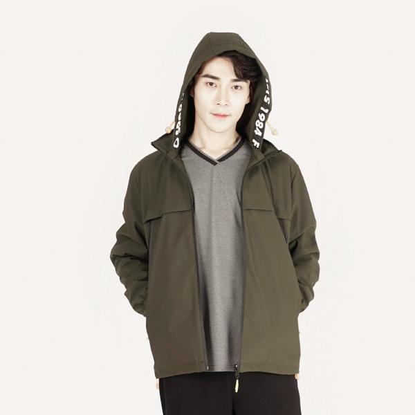 防風保暖連帽外套(男)-墨綠