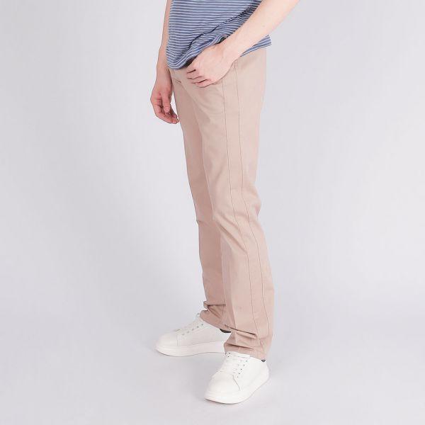 埃及棉萊卡休閒棉褲(男)-米色細條