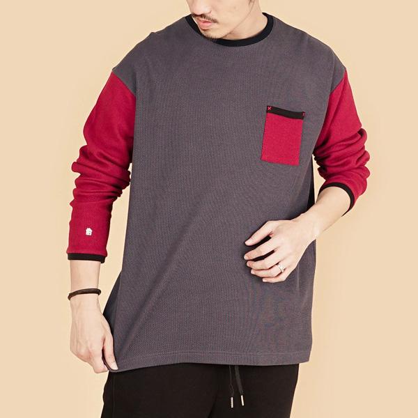 膠原蛋白拼接圓領組織布長袖棉衫(男)-灰紅