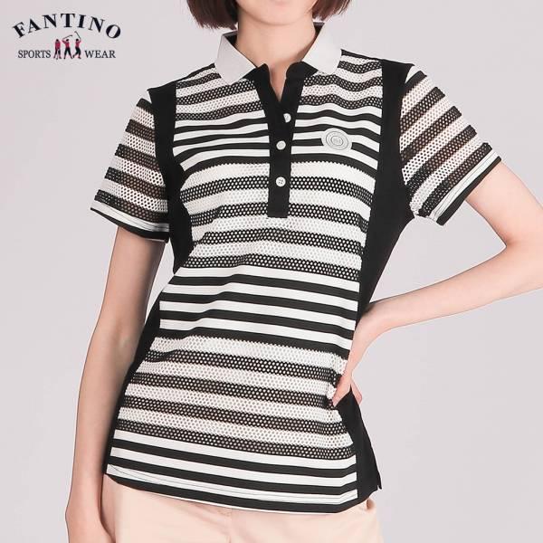 雙絲光舒適POLO衫(女)-黑白條紋48