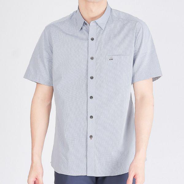 埃及棉混紡亞麻商務襯衫(男)-藍色