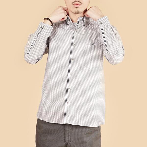 埃及棉細格紋舒適休閒襯衫(男)-灰
