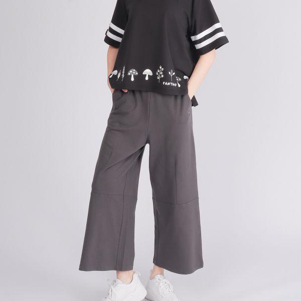 美膚膠原蛋白舒適造型寬褲(女)-深灰