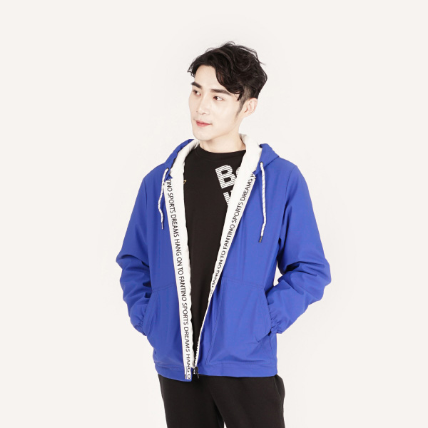 拼接連帽運動外套(男裝)-藍