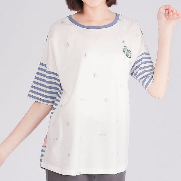 膠原蛋白亮片南瓜圓領衫(女)-深藍條紋