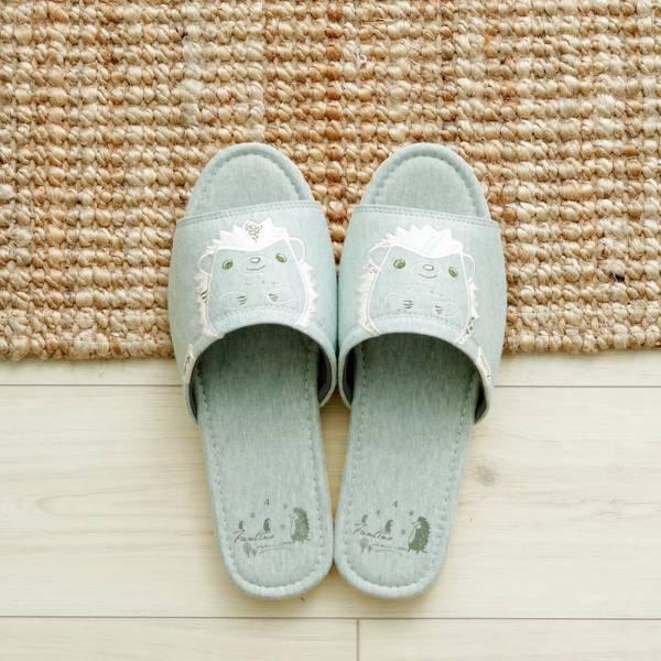 有機棉刺繡家居拖鞋/室內拖鞋-花漾綠(花漾刺蝟) 室內拖,台灣設計,台灣製造,拖鞋,布花,居家良品,防滑,刺蝟