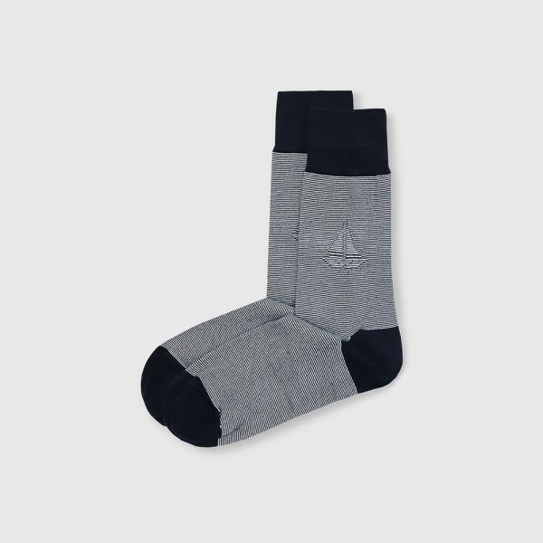 【法國製】抗菌防臭帆船細紋紳士中筒襪-丈青
