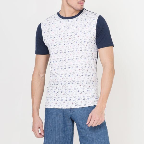 獨家布花圓領棉質T恤-白