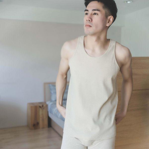97%GOTS認證有機棉素面親膚圓領男背心-共3色 睡衣,家居服,居家服,家居褲,居家褲,舒服睡衣,umorfil,膠原蛋白紗,美膚膠原蛋白,有機棉,親膚