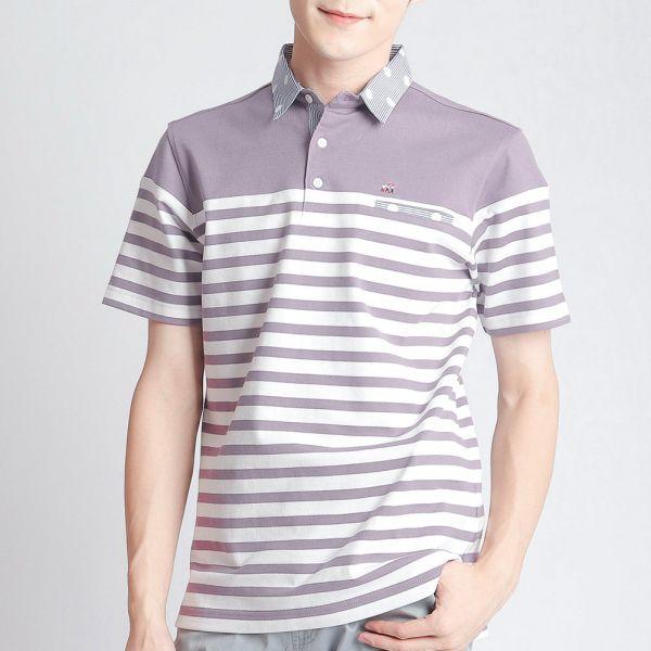 POLO衫(男)-葡萄紫條紋