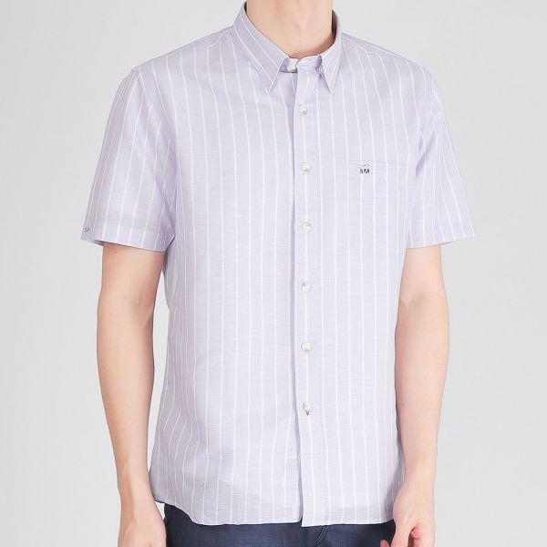 埃及棉混紡亞麻休閒襯衫(男)-紫色