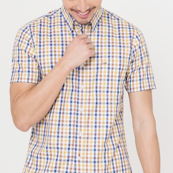 奧地利純棉格紋休閒襯衫(繽紛橙)