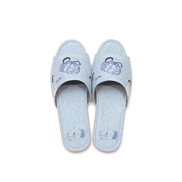 有機棉刺繡家居拖鞋/室內拖鞋-海南瓜(童話南瓜園) 室內拖,台灣設計,台灣製造,拖鞋,布花,居家良品,防滑,刺蝟,南瓜