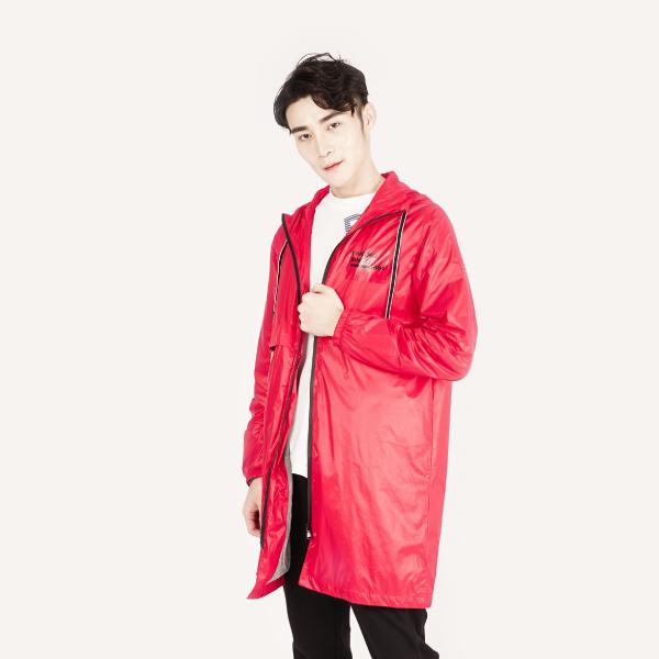 時尚亮面防風連帽長版薄外套(男裝)-紅