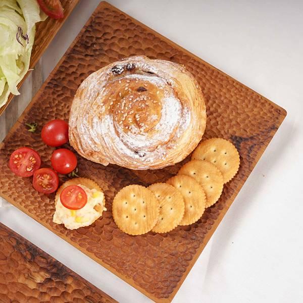 天然柚木方型托盤S號(22x22cm)-波點款/條紋款 柚木,廚房,餐具,木盤