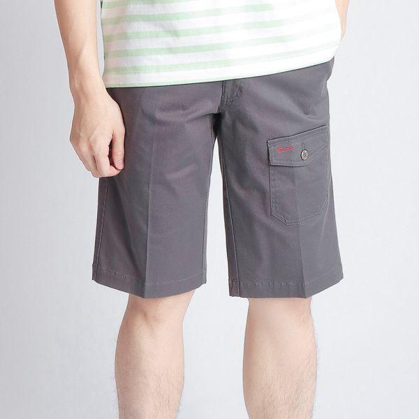 埃及棉短褲(男)-灰印細條