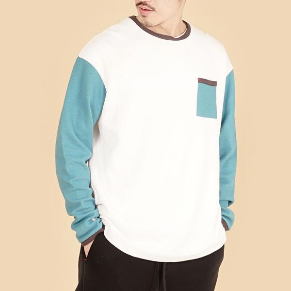 膠原蛋白拼接圓領組織布長袖棉衫(男)-白藍