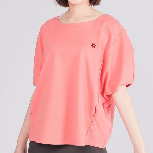 埃及棉花苞顯瘦剪裁口袋圓領衫(女)-玫紅