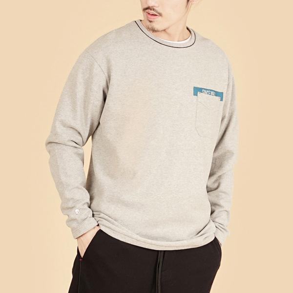 膠原蛋白厚紡刷毛口袋繡花圓領長袖棉衫(男)-麻花灰
