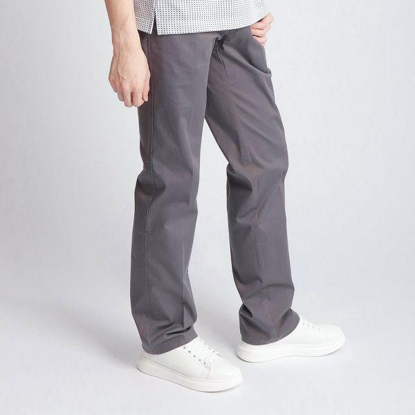 埃及棉休閒棉褲(男)-灰印細條