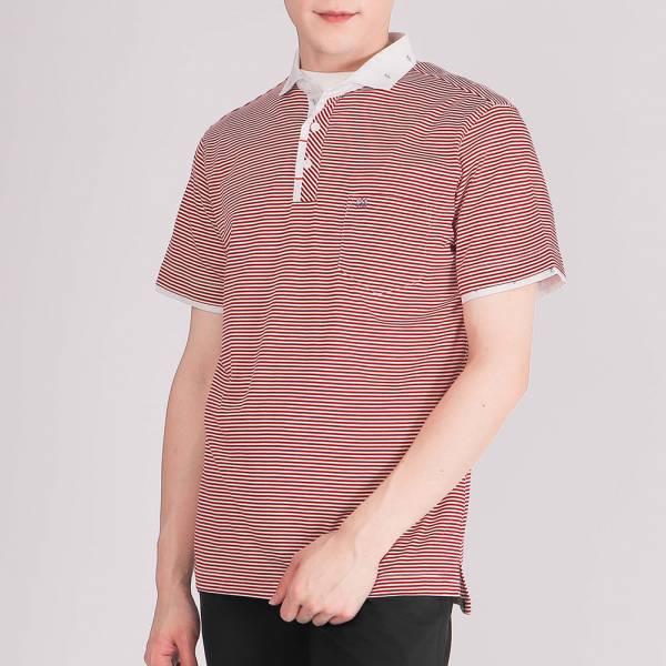 雙絲光POLO衫(男)-紅條紋