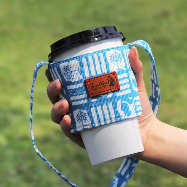 雙層隔熱環保飲料杯套/飲料提袋(解密古王國)-土耳其藍 飲料杯套,環保杯套,手提杯套,杯套,環保飲料提袋,飲料袋,飲料提袋,婚禮小物,禮物,外帶,環保,防水布,杯套,飲料,提袋,杯套提袋,環保杯袋,環保杯,飲料杯