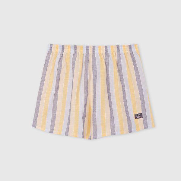 棉麻四角褲/平口褲-寬直條紋 灰黃