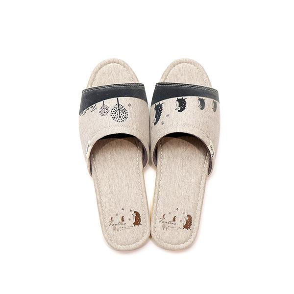 有機棉植絨家居拖鞋/室內拖鞋-淺麻灰(刺蝟一家) 室內拖,台灣設計,台灣製造,拖鞋,布花,居家良品,防滑,刺蝟