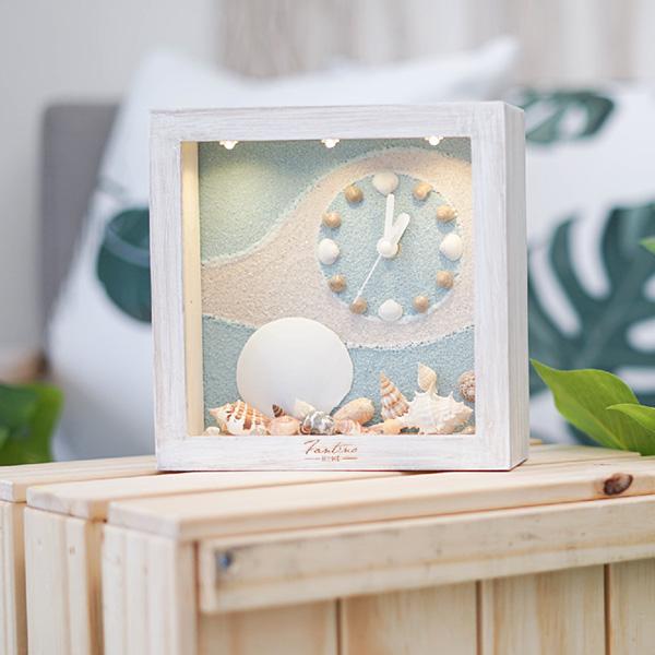 海洋深呼吸 手工木作時鐘-貝殼天堂 鐘右 家居品, 時鐘, 原木時鐘, 海洋時鐘, 手工時鐘, 療癒時鐘