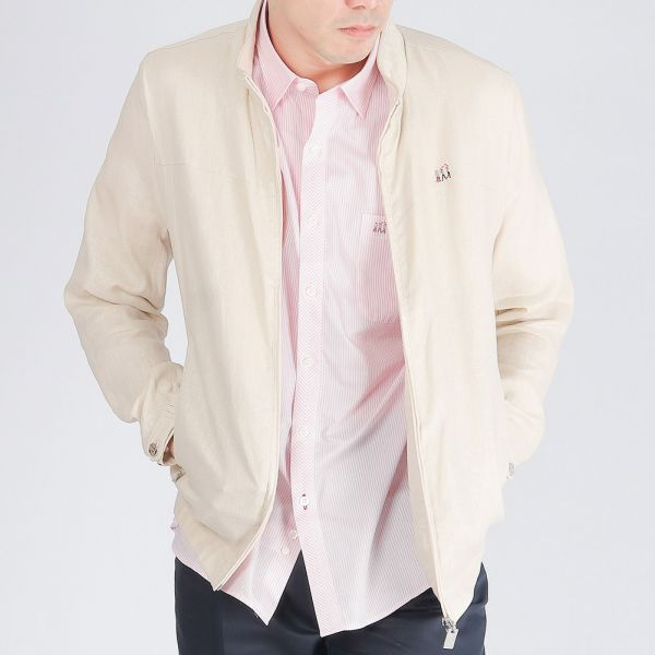 100%亞麻立領夾克外套(男)-共2色