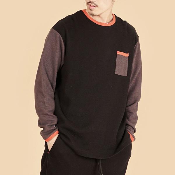 膠原蛋白拼接圓領組織布長袖棉衫(男)-黑灰