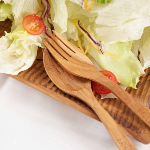 【10入組】無上漆天然柚木手刻叉子-共2款│環保餐具/減塑/ 露營野餐 柚木,廚房,餐具,筷子,環保