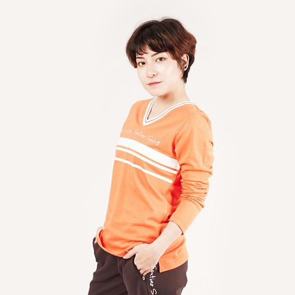 膠原蛋白親膚V領衫(女)-橘