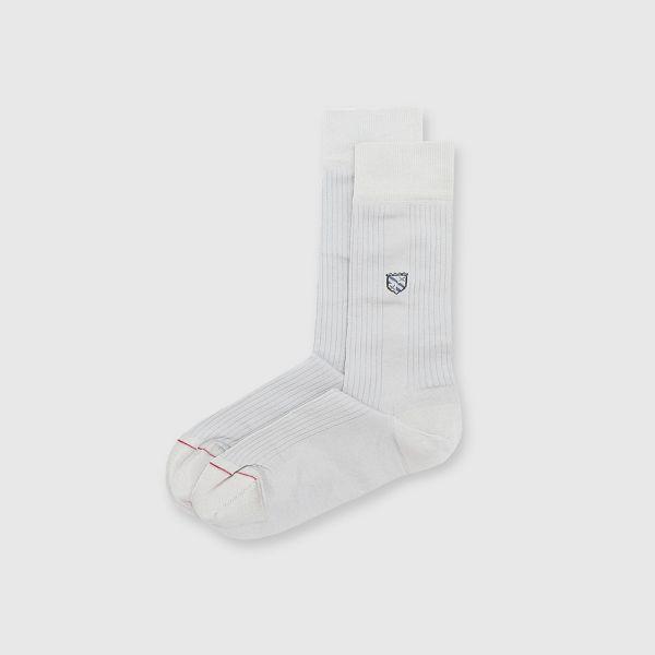 【法國製】抗菌防臭旗幟圖騰紳士中筒襪-灰色