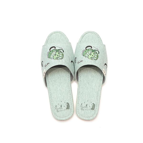 有機棉刺繡家居拖鞋/室內拖鞋-綠南瓜(童話南瓜園) 室內拖,台灣設計,台灣製造,拖鞋,布花,居家良品,防滑,刺蝟,南瓜