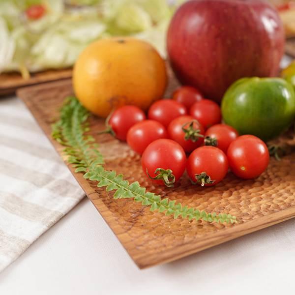 天然柚木方型托盤L號(26x26cm)-波點款/條紋款 柚木,廚房,餐具,木盤