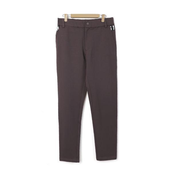 修身舒適休閒針織長褲(男)-咖啡