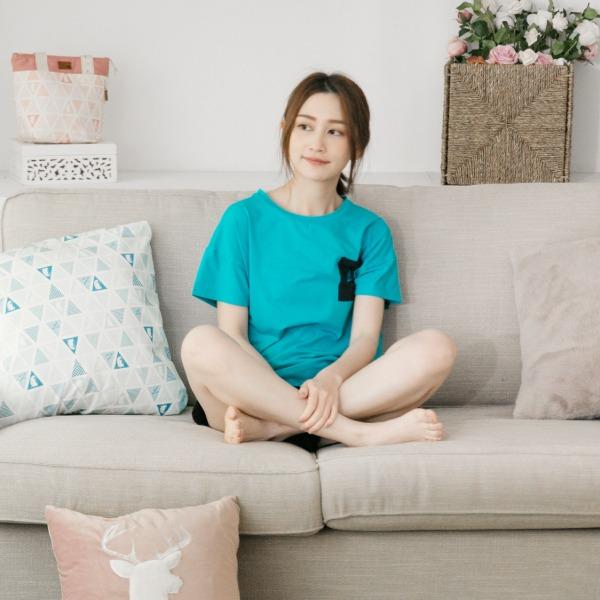 美膚膠原蛋白 刺繡口袋家居服 上衣/睡衣居家服-藍(衣) 睡衣,家居服,居家服,舒服的睡衣,美膚睡衣,膠原蛋白睡衣,fantino睡衣